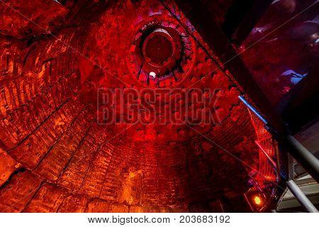 Inside the blast furnace in lower region of Vitkovice - old ironworks factory