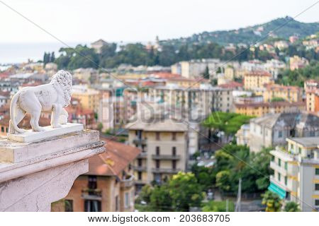 Morning view from above to cloudy day in Santa Margherita Ligure city and sea in Italy
