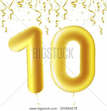 Inflatable golden balls with falling confetti and hanging ribbons. Ten years, symbol 10. Vector illustration, logo or poster for tenth birthday celebrating