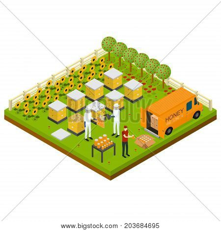 Beekeeping Apiary Farm Isometric Concept Isometric View with Farmers and Bee. Vector illustration of Beekeepers