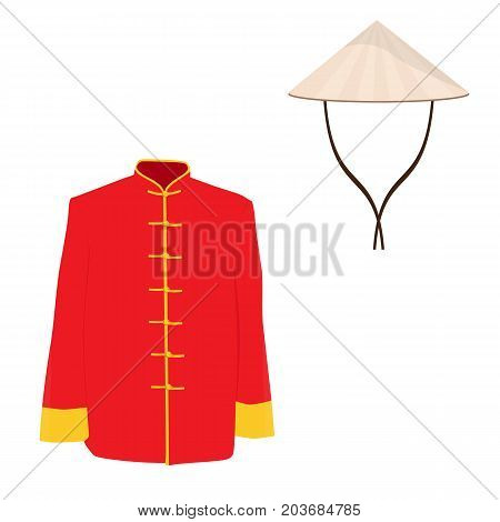 Vector illustration Chinese man traditional costume dress. Asian ethnic national clothes.