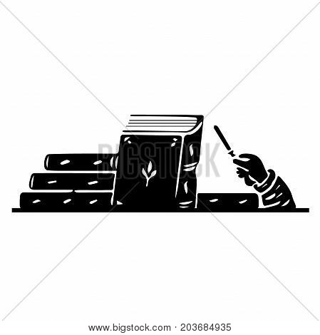 Torah jewish scroll book. Vector icon. Hand and pointer for reading the holy scriptures