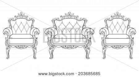 Armchair and dressing table with luxurious ornaments. Vector French Luxury rich intricate structure. Victorian Royal Style decor