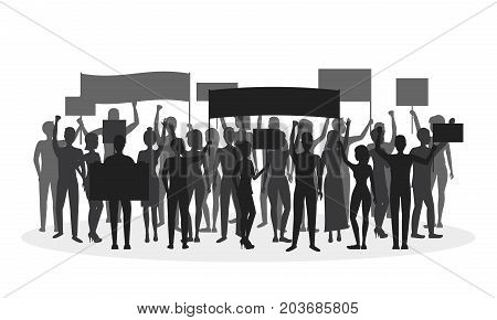Cartoon Silhouette Black Protesting Crowd Demonstration, Picket or Conflict Action Culture Concept Flat Design Style. Vector illustration of Protesters People