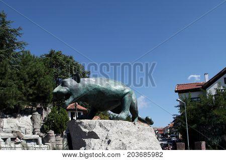 Beypazari Turkey - September 04, 2016; Anatolian Leopard Statue and Ottoman Homes in Beypazari, Ankara, Turkey
