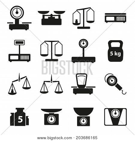 Cartoon Weight Scales Silhouette Black Icons Set Symbol of Justice or Market Concept Flat Design Style. Vector illustration of Weighing Symbol