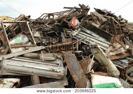 Pile of metal scrap wait for recycle