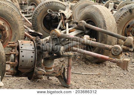 Pile of metal scrap of truck suspension