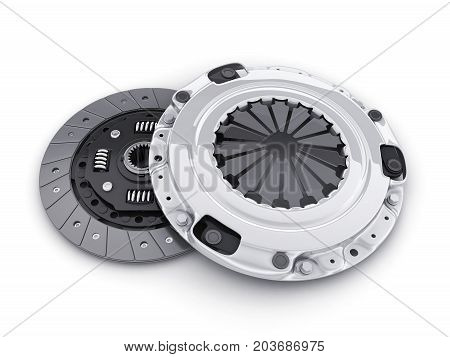 Disc and cover for car on white background. 3d illustration