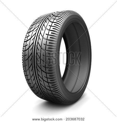 One tire car on white background. 3d illustration