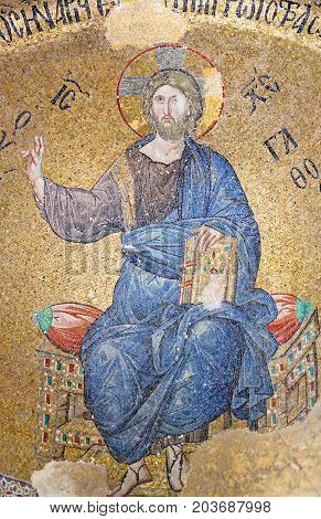 ISTANBUL, TURKEY - OCTOBER 31, 2015: Mosaic depicting Christ in Pammakaristos Church. The church was built between the eleventh and the twelfth centuries