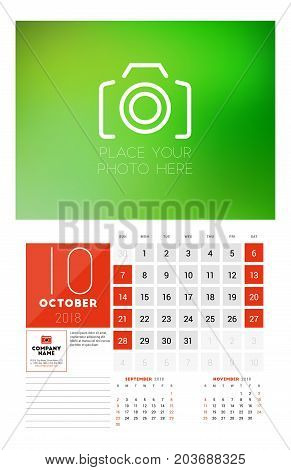 Wall Calendar Template For 2018 Year. October. Vector Design Print Template With Place For Photo. We