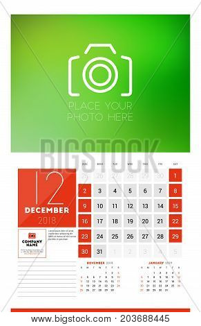 Wall Calendar Template For 2018 Year. December. Vector Design Print Template With Place For Photo. W