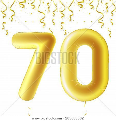 Inflatable golden balls with falling confetti and hanging ribbons. Seventy years, symbol 70. Vector illustration, logo or poster for seventieth birthday celebrating
