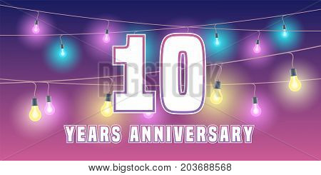 10 years anniversary vector icon banner. Graphic design element or logo with abstract background for 10th anniversary