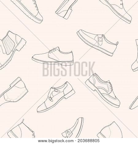 Monochrome seamless pattern with various types of men s footwear - derby, oxfords, loafers, moccasins, brogues, monks, desert boots, boat shoes. Vector illustration for wallpaper, textile print
