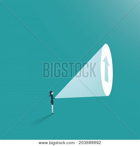 Business woman ambition business concept vector. Businesswoman with flashlight and arrow up as symbol of career promotion and growth. eps10 vector illustration.