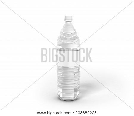 Bottle Of Plastic White With Water 3D Render On White Background