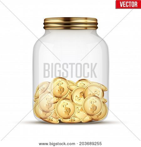 Saving money coin in jar. Symbol of investing and keeping money. Vector Illustration isolated on white background.