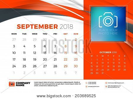 September 2018. Desk Calendar Design Template With Abstract Background. Place For Photo. Red And Bla