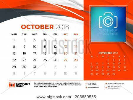 October 2018. Desk Calendar Design Template With Abstract Background. Place For Photo. Red And Black