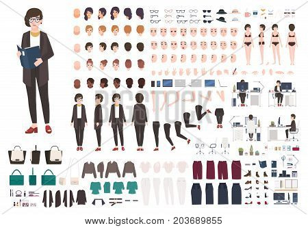 Secretary woman creation set or DIY kit. Collection of female cartoon character s body parts, face expressions, gestures, clothing and accessories isolated on white background. Vector illustration
