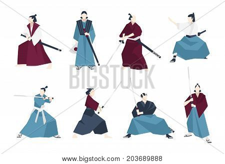 Collection of samurai standing in different postures and holding katana sword. Set of Japanese warriors dressed in traditional clothing. Flat cartoon characters. Colored vector illustration