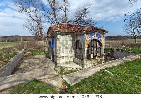 Spring of water and small church in Arapovo Monastery of Saint Nedelya, Plovdiv Region,  Bulgaria