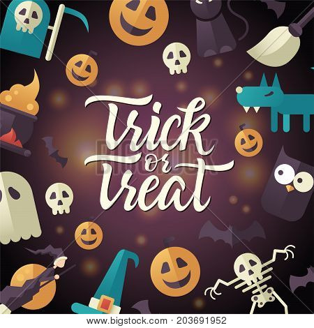 Trick or treat - Halloween celebration poster with calligraphy text. Vector illustration with pumpkin, jack-o-lantern, skeleton, ghost, werewolf, witches broom, hat, owl, moon, black cat, bats