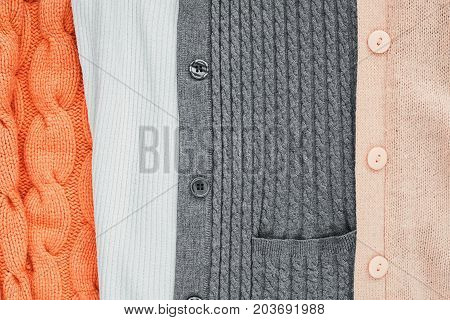 different Knitted Items with Braids and Pattern.Hand Made;Fancywork.Background