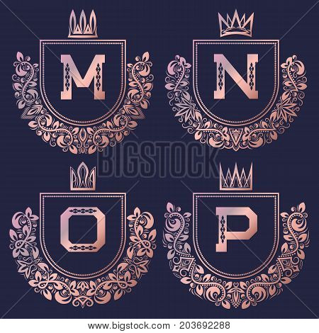 Rose gold coat of arms set in baroque style. Golden pink vintage logos with M, N, O, P monogram.
