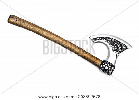 Toy battle axe isolated. Nordic battle axe.