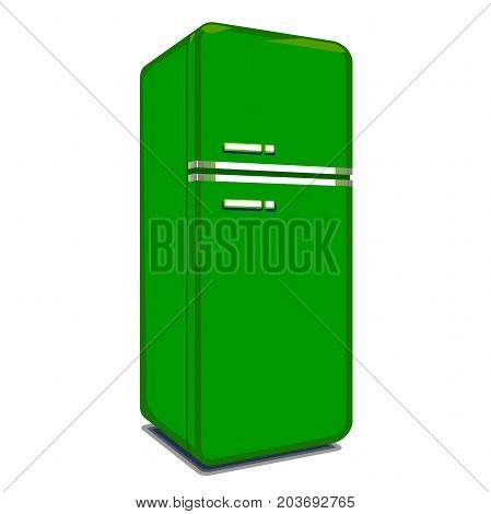 Refrigerator sign illustration. Vector. Refrigerator icon green colored on a white background