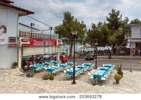 CHALKIDIKI, CENTRAL MACEDONIA, GREECE - AUGUST 25, 2014: Panoramic view of Neos Marmaras at Sithonia peninsula, Chalkidiki, Central Macedonia, Greece
