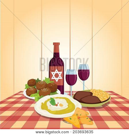 Kabbalat Shabbat, family night meal, colorful vector cartoon. Religious traditions. Judaism