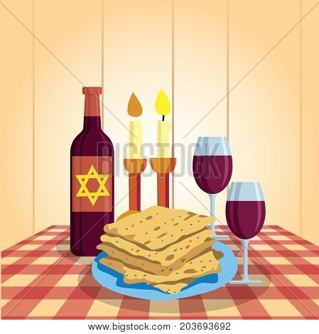 Shabbat shalom. Candles, kiddush cup and matzo. Religious traditions. Judaism Vector illustration