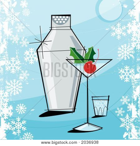 Retro-Stylized Christmas Martini