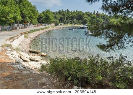 CHALKIDIKI, CENTRAL MACEDONIA, GREECE - AUGUST 25, 2014: Seascape of Spalathronisia beach at Sithonia peninsula, Chalkidiki, Central Macedonia, Greece