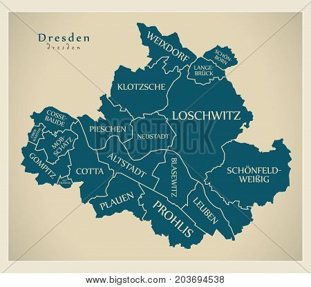 Modern City Map - Dresden City Of Germany With Boroughs And Titles De