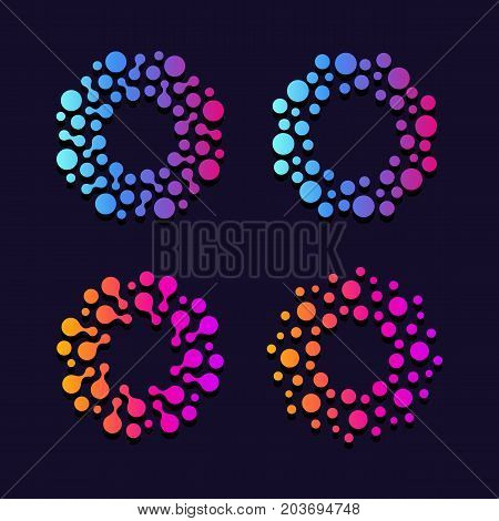 Abstract round explosion. Network data base. Pharmacy laboratory signs. Innovate science vector logo