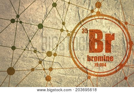 Bromine chemical element. Sign with atomic number and atomic weight. Chemical element of periodic table. Molecule And Communication Background. Connected lines with dots. Grunge distress texture.