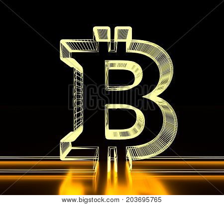 Bitcoin sign icon for internet money. Crypto currency symbol. Blockchain based secure cryptocurrency. 3D rendering