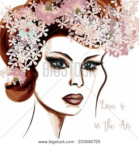 Elegant fashion illustration with beautiful lady and flowers