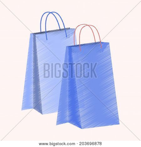 flat shading style icon paper bags trendy