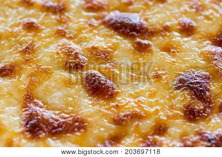 Pastitsio Traditional Greek Baked Pasta Casserole With Ground Beef, Tomatoes, Feta Cheese And Becham