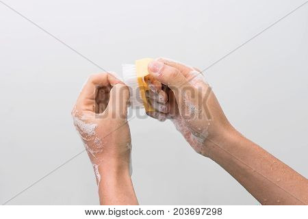 Doctor perform surgical hand washing, Preparation to the operating room. Soft focus.