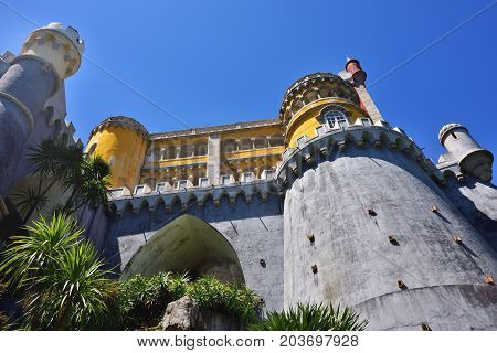 View on the Pena National Palace. The most popular tourist attraction in whole Portugal