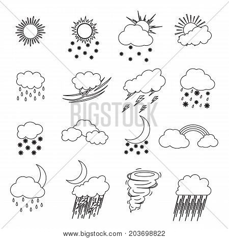 Cartoon Weather Thin Line Icons Set Meteorology Forecast Concept for Web Design Flat Style. Vector illustration