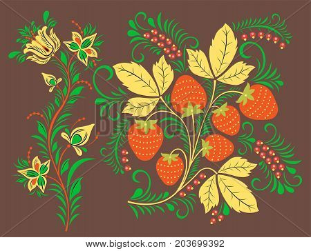 Vector khokhloma pattern design traditional Russia drawn illustration ethnic ornament painting decoration objects, elements for poster, banner, print, logo, advertisement design.