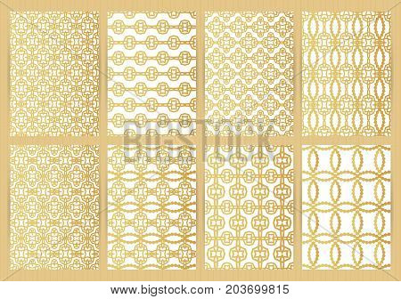 Covers with abstract golden pattern. Vector backgrounds for restaurant menu flyer business card brochure book banner etc.